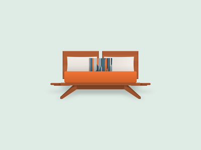 My Furniture furniture midcentury modern illustrator couch desk workspace bed dresser media console