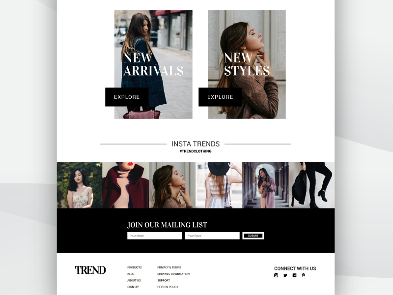 Trend Splash Page Design By Rachel Kanahele For Gravity23 On Dribbble