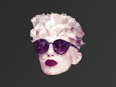 Red Lipstick triangle poly illustrator portrait character low poly face polygon woman
