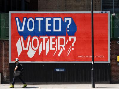 VOTE(D)? VOTE(R)? type flat branding vector typography design illustration