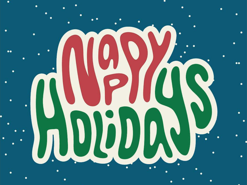 Nappy Holidays illustration christmas holiday type typography vector