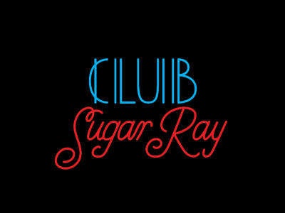 Club Sugar Ray Lettering old school eighties black movie vector illustration typography