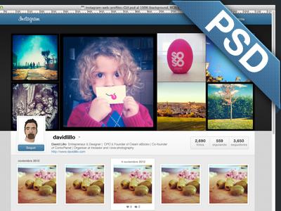 Instagram Web Profiles GUI-PSD instagram profiles gui psd ui