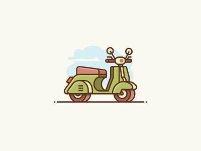 Vespa illustration logo icon scooter motorcycle motorbike vespa