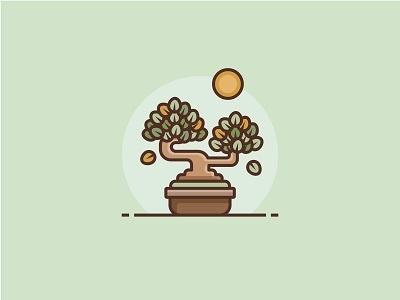 Bonsai nature tree icon illustration sun pot zen plant bonsai