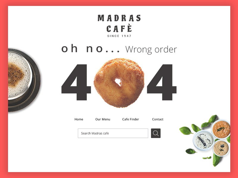 404 Page  india vada ux white ui design experience interface page error cafe 404