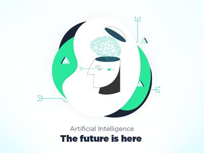 Artificial intelligence - Debut Shot sophia future smartphone brain social media green ui artificial intelligence illustration
