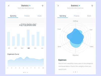 Statistics App minimal flat finance costs spends app statistics