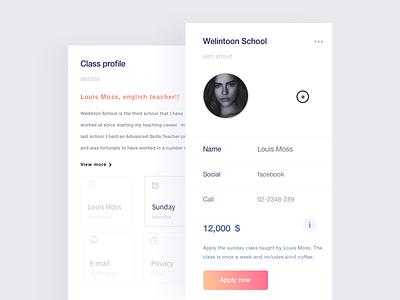 Apply To Class register class design flat gradient profile ui mobile ios
