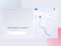 Searching for location, website header