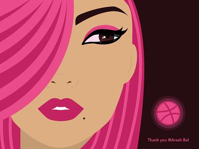 Dribbble Shot first-shot girl pink eyes colors design illustration portrait ux ui shot debut