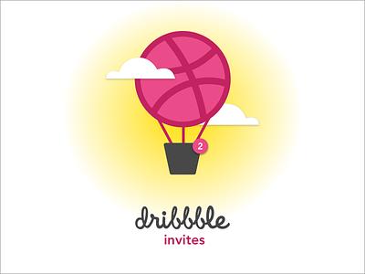 Dribbble Invite illustration 2 invites invites dribbble invite hot air balloon