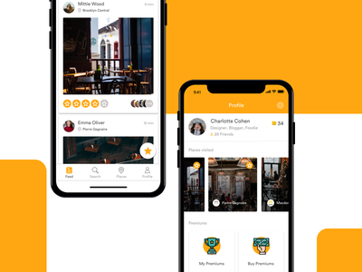 Explore and Rating App home profile screen location based app explore places design application ux ui