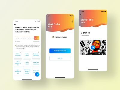 Anxiety app daily tips ios app mental heath health app shot mobile app designing app ux ui anxiety app designer anxiety app
