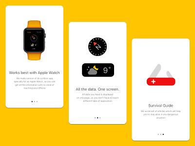 Do Outdoor App Guide apple watch on-boarding ui design compass iphone app ios ui screens onboarding start guide