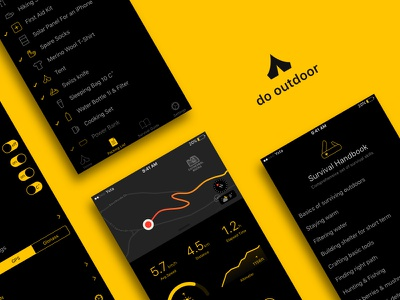 """Hiking & backpacking app """"do outdoor"""" user interface ux ui iphone ios app night outdoors travel backpacking hiking"""