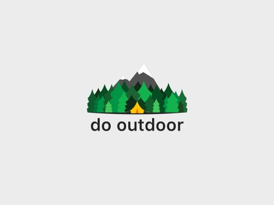 Do Outdoor app illustration green flat outdoor mountain tent forest pines illustration