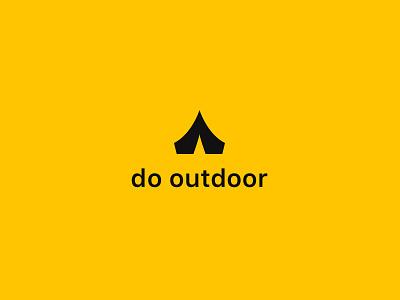 Hiking App Logo monochrome yellow tent backpacking outdoor hiking logo app