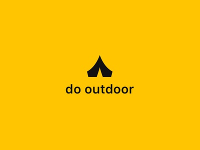 Hiking App Logo monochrome yellow tent backpacking outdoor hiking logo app
