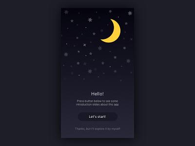 Hello Screen space sky stars gradient guide onboarding hello iphone ios ux ui app