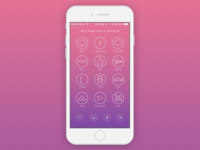 Atmospherical App Main Screen mood sounds icons ui ux gradient iphone ios app meditation