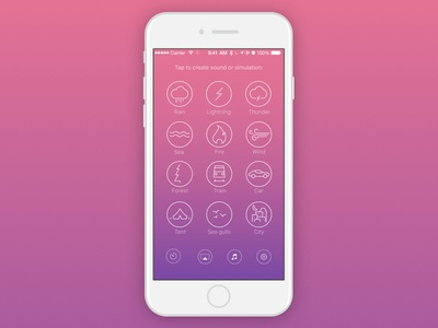 Atmospherical App Main Screen mood sounds icons ui ux gradient iphone ios app meditation