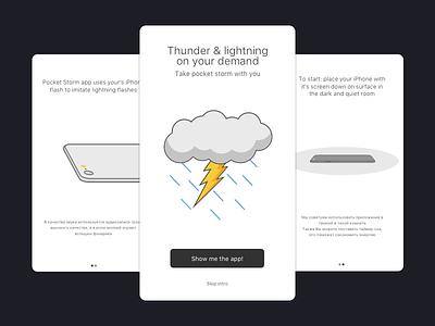 Pocket Lighning App Intro ios ix ui app storm rain thunder clouds cloud lightning