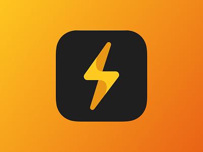 Stok App Icon orange yellow gradient iphone ios iconography square flash lightning app icon