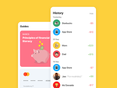 Panda Money – History & Feed fintech young kids finance child banking bank