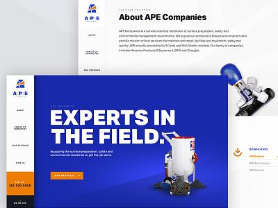 APE Companies Splash splash page orange blue