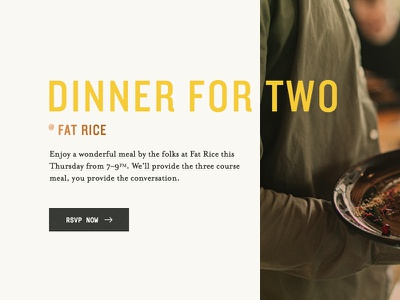 Dinner for Two mono yellow copper tan dinner