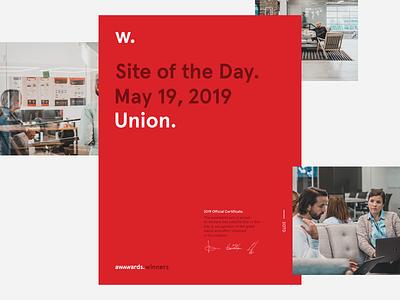 Union.co wins SOTD sotd website union agency larsseit gtsectra white black
