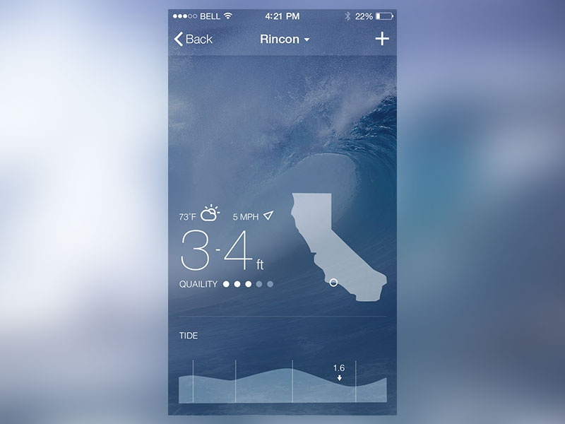Surf Report ios mobile ios7 interface interface design iphone reports graphs