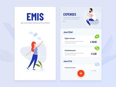 Expense declaration app concept mobile android ios native persons vector illustration menu ui ux app