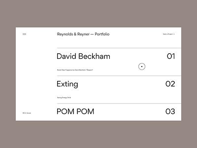 Reynolds and Reyner — Agency Website portfolio typography animation minimal web ui ux web design