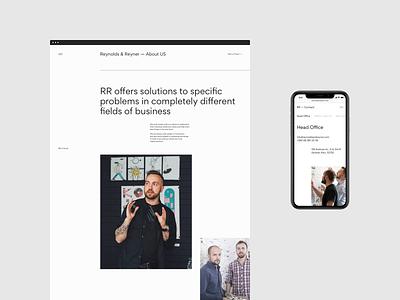 Reynolds and Reyner — Agency Website web page minimal mobile typography web design ux ui