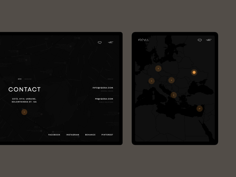 IQOSA — Projects Map Page zoom world map ui black clean creative desktop grid minimal photo typography uiux ux web architecture interior design project page mobile