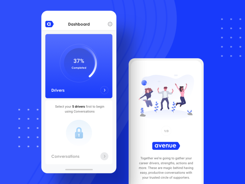 Avenue - Mobile App Design illustration screen user interface iphone minimal creative clean design app ui