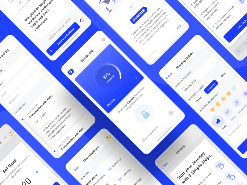 Avenue - Mobile App Design illustration user interface screen minimal clean design web ux app ui