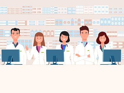 Pharmacy pharmacy characters illustration adobe illustrator vector art