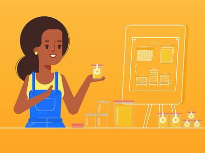 Meet Aminata! character honey uemoa illustration 2d animation woman vector art
