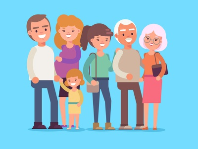 MyCUF Family characters family child baby man character illustration woman vector art
