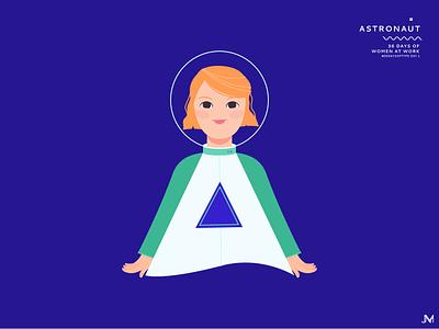 Astronaut letter a astronaut 36 days of type adobe illustrator woman illustration vector art