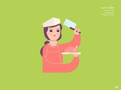 Butcher butcher letter b 36 days of type vector art illustration woman