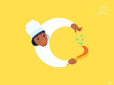 Chef adobe illustrator chef letter c 36daysoftype woman illustration vector art