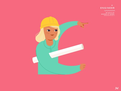 Engineer letter e 36 days of type adobe illustrator character woman illustration vector art