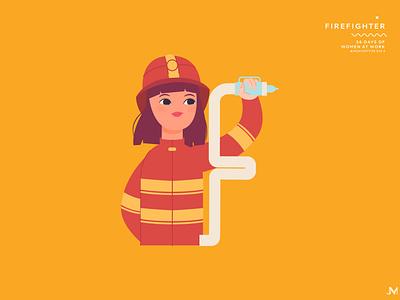 Firefighter letter f 36 days of type firefighter adobe illustrator character woman illustration vector art