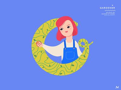 Gardener letter g plant gardener adobe illustrator 36 days of type character woman illustration vector art