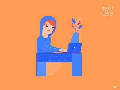 Hacker hacker letter h adobe illustrator 36 days of type character woman illustration vector art