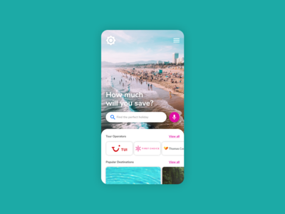Travel app landing page concept